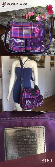 """🎉HOSTPICK!!!🎊 Coach Poppy Tartan Hippie Handbag Coach Poppy Tartan Hippie Handbag Item: 16120 Color:Berry/Multicolor with silvertone hardware Tartan fabric with patent leather trim Inside zip and multifunction pockets Zip top closure, fabric lining Outside front snap pockets Strap with 5"""" drop Removable strap with 19"""" drop for shoulder or crossbody wear Approximately: 14"""" L x 11.5"""" H x 4"""" W .. this bag is used with normal wear from used but no damage.. from smoke & pet free home..100%…"""