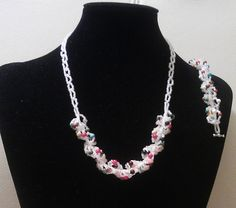 Some beading. Necklace and bracelet in toho beads and mix of gems.