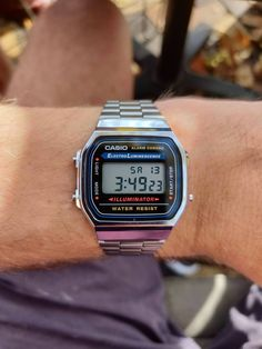 [Casio Got this watch yesterday as a present! Casio Vintage Watch, Vintage Watches, Casio Watch, Cheap Watches, Cool Watches, Iphone Wallpaper Sky, Mens Digital Watches, Black And White Aesthetic, G Shock Watches