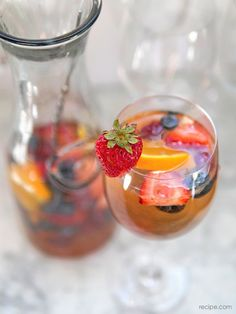 Red, White, and Blue Berry Sangria from Kelly Carambula of Remedy. http://remedyquarterly.com