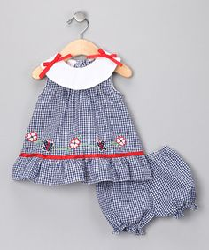 Take a look at this Blue Gingham Daisy Chain Dress & Bloomers - Infant by Sweet & Soft on #zulily today!