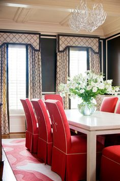 DINING ROOM How to combine shutters with curtains to create height and beauty. Coral Seat covers as opposed to coral China cabinet Window treatments with valance formal but simple and elegant Decor, Red Dining Room, Interior, Dining Room Design, Dining Room Windows, Shutters With Curtains, Home Decor, Interior Design, Curtain Designs