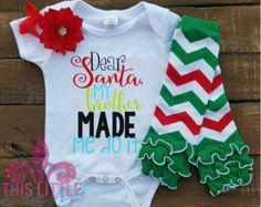 Christmas Outfit. Girl Holiday Outfit. Funny Christmas Shirt. Dear Santa, my brother made me do it. Cake Smash Shirt. Toddler Shirt.