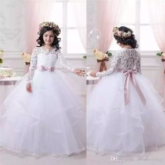 d44514b292a White Tulle Ball Gown Flower Girls Dress Lace Appliques Long Sleeves Bow  Kids Party Dresses Teens