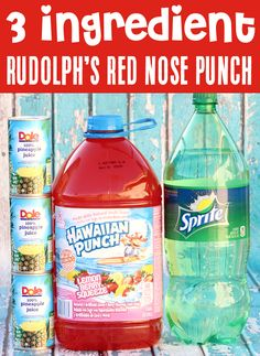 Red Punch Recipe for Kids & Adults! Holiday Punch makes the perfect festive addition to any party, and this sparkling Christmas punch as red as Rudolph's Nose will be the hit of all your parties! Just 3 ingredients, and you're done! Go grab the recipe and give it a try!