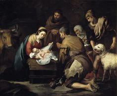 "Bartolomé Esteban Murillo: ""Adoration of the shepherds"" (towards 1657). Oil on canvas, 187 cm x 228 cm.  Museo Nacional del Prado, Madrid, Spain"