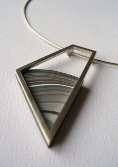 Tracey McSporran: pendant, coloured acrylic framed in silver