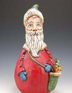 Father Christmas - Hand painted gourd: I have been a Santa creator for years, but never out of gourds until 2 years ago when a fellow artist sent me some little gourds with a note that said,