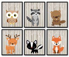 Woodland Animals Woodland Nursery Art Print Mix Match Owl Racoon Beaver Deer Skunk Fox Trees Wild Forest Kid Room Wall Decor Children Baby by KidsNurseryArt on Etsy https://www.etsy.com/nz/listing/278539162/woodland-animals-woodland-nursery-art