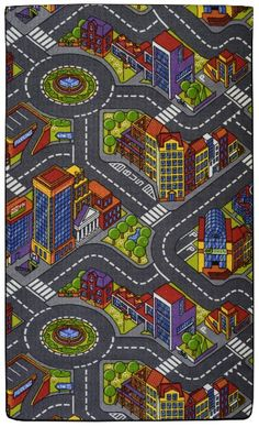 Road Map PlayTime Area Rug For Kids 3'x5' City Grey