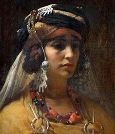 Algérie  -  Peintre American  Frederick Arthur Bridgman(1847-1928), huile sur toile  , Titre :  La Princesse