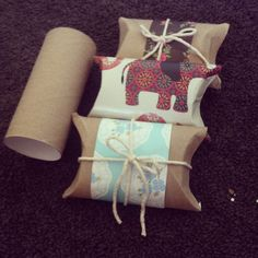 DIY: Another cute way of wrapping a gift :) turn a toilet roll into a mini box and add pretty paper and string and there ya go!