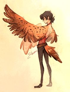 Birb Keith, loosely based off Watercast but in the fic he has human arms as well and no tail, I was just having fun haha