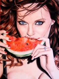 Christina Hendricks by Valontine | First pinned to Celebrity Art board here... http://www.pinterest.com/fairbanksgrafix/celebrity-art/ #Drawing #Art #CelebrityArt