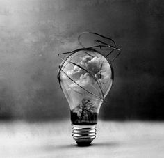 surreal art black and white | ... photography surrealism art lightbulb forest clouds black and white