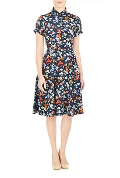 I <3 this Butterfly print crepe shirtdress from eShakti