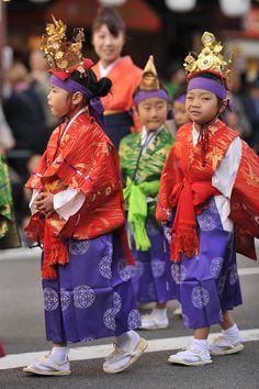 Children marching in the Jidai Matsuri procession, Asakusa