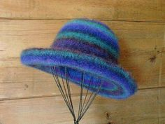 """""""Blue Carnivalle"""" by Millinery Madness.  Felted with Japanese Noro wool."""