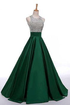 Floor-length Long Prom Dresses, Beautiful Green Satin Beading Long Simple Cheap Handmade Prom Dresses #promdresses #longpromdresses #simpledresses #partydress #beadingdresses