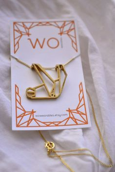 Sloth origami necklace - Geometric animal pendant - Polished Brass - Made to order in Rose Gold, Gold-plate and Silver Origami Necklace, Gifts For Your Sister, Gold Necklace Simple, Matching Necklaces, Initial Necklace, Metal Jewelry, Geometric Animal, Rose Gold Plates, Pendant