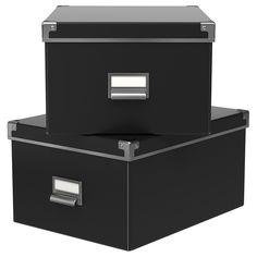 KASSETT Boîte avec couvercle - noir, 27x35x18 cm - IKEA