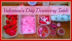 Valentine's Day Discovery table for preschoolers or older toddlers