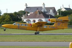 G-XTOR Trislander Aurigny Air Services .Touch down at Jersey Airport