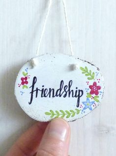 'Friendship' Wood Slice, Hand Painted Hanging Decoration