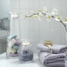 Love putting the bath salts and pretty soaps in the base of these candle holders. Nice touch for home or spa.