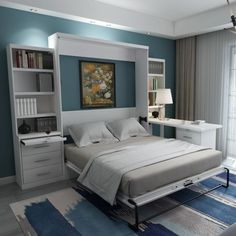 The Desk Murphy Bed, a Favorite Wallbed for Home Offices   Guest Beds Murphy Bed Office, Murphy Bed Desk, Murphy Bed Plans, Office Bed, Desk Bed, Garage Office, Guest Bedroom Office, Guest Bedrooms, Small Guest Rooms