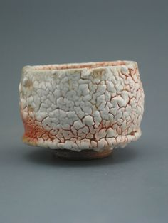 Teacup, wood-fired iron rich stoneware with crawling shino and natural ash glazes from Shawn McGuire, Greenwood Studios - First but not my last purchase from the pottery. :)