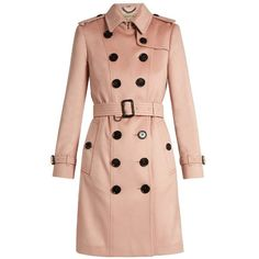 Burberry Sandringham long cashmere trench coat (27.676.335 IDR) ❤ liked on Polyvore featuring outerwear, coats, jackets, light pink, cashmere trench coat, long trench coats, long coat, military style coat and military style trench coat