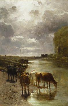 Cattle Drinking by Constant Troyon 1851 Oil on Oak Panel (Walters Art Museum) Cow Art, Art Painting, Landscape Paintings, Lovers Art, Barbizon School, Painting, Beautiful Paintings, Art, Art Movement