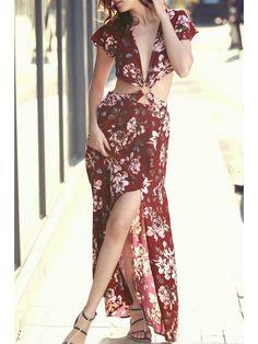 High Slit Plunging Neck Short Sleeve Floral Print Dress - RED L Mobile