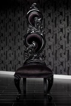 Black Velvet Baroque High Back Chair by Clarisa LaStrega Superb for Gothic Decor or as a statement piece.