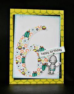 Lawn Fawn - Beep Boop Birthday + coordinating dies _ super clever birthday card by Nikki via Flickr - Photo Sharing!