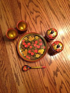 Folk Art Russian Khokhloma Vintage by SageandDeesVintage on Etsy