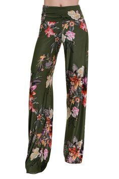 High Waist Fold Over Wide Leg Gaucho Palazzo Pants (Olive Garden)
