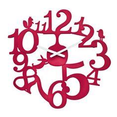 Koziol Pi:p Red Wall Clock - woodland themed cute red clock Red Wall Clock, Wall Clock Gift, Design3000, London Clock, Kitchen Wall Clocks, Kitchen Art, Kitchen Dining, Tabletop Clocks, Cool Clocks