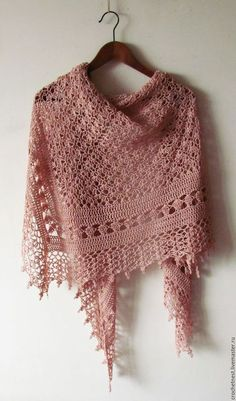 Crochet Powder Shawl - Summer Cotton Shawl - Crochet Summer Shawl - Made To OrderCrochet Powder Pink Shawl - Summer Cotton Shawl - Hand Knit Woman Wrap - Wedding Bridal Cover Up - Made To Order Shawl Crochet, Crochet Shawls And Wraps, Knitted Shawls, Crochet Scarves, Lace Knitting, Knit Lace, Cotton Crochet, Knit Crochet, Pink Shawl