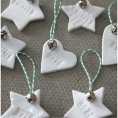 Ceramic decorations [would love the 'twinkle' star and 'love' gingerbread decoration for my Christmas tree!] These are adorable! Ceramic Christmas Decorations, Gingerbread Decorations, Christmas Tree Decorations, Christmas Tree Ornaments, White Ornaments, Hanging Decorations, Christmas Activities, Christmas Projects, Clay Ornaments