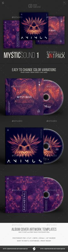 Mystic Sound Collection - #CD Cover Artwork Templates Bundle - CD & DVD Artwork Print Templates