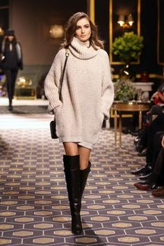 Oversized sweater, knee high boots
