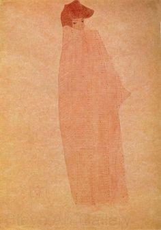 Standing Woman in a Long Cloak, 1908 Egon Schiele Vienna Secession, 1 Image, Gustav Klimt, Cloak, Book Art, The Past, Woman, Portrait, Drawings
