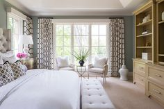 Locust Hills Drive Residence 2 - transitional - Bedroom - Minneapolis - Martha O'Hara Interiors / graphically patterned curtains against sage walls for my bedroom?