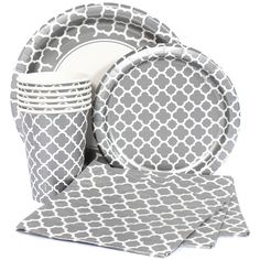 Silver Quatrefoil Party Supplies. We've got plates, cups, napkins, and table covers.