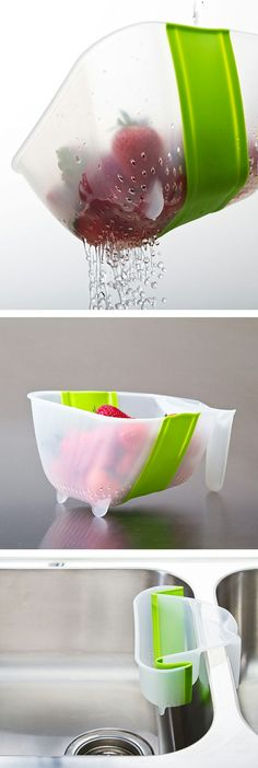 Collapsible Over-Sink Collander/Strainer // Stores Flat #kitchen #spacesaving #gadgets