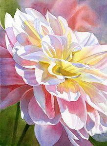 Sharon Freeman Painting - Peach And Yellow Dahlia by Sharon Freeman