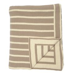 Beige Beach Stripes Reversible Patterned Throw | Great site for designer bedding | www.craneandcanopy.com