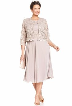 Jessica Howard Plus Size Metallic Lace Dress and Jacket Mother-of-the-Bride Dress Mother In Law Dresses, Mothers Dresses, Mother Of The Bride Dresses Knee Length, Plus Size Dresses To Wear To A Wedding, Mother Of The Bride Plus Size, Mother Of The Bride Gown, Mother Bride, Mob Dresses, Tea Length Dresses